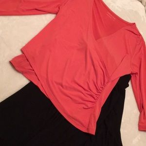 Coral Ruched Long Sleeve Top